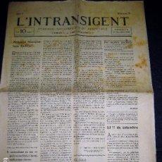 Coleccionismo de Revistas y Periódicos: ANTIGUO PERIODICO L'INTRANSIGENT . UNIÓ CATALANISTA PERIODIC NACIONALISTA D'ESQUERRA 1918 Nº 3 .. Lote 104395471