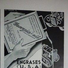 Coleccionismo de Revistas y Periódicos: PUBLICIDAD AÑOS 30 ENGRASES (USA) S.A.E. GEORGIA OIL CENTRAL PARA ESPAÑA EN MALAGA 11 X 15 ALTO. Lote 104461959