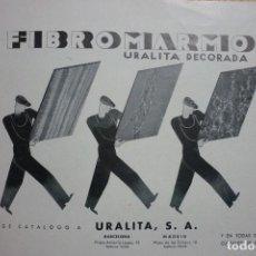 Coleccionismo de Revistas y Periódicos: PUBLICIDAD AÑOS 30. FIBROMARMOL. URALITA DECORADA. 23 X 17 CM. Lote 113266876