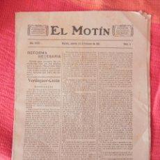 Coleccionismo de Revistas y Periódicos: ANTIGUO PERIÓDICO -EL MOTÍN-. AÑO 1911. N. 8 SEMANARIO ANTICLERICAL DIRIGIDO POR JOSÉ NAKENS. Lote 104514471
