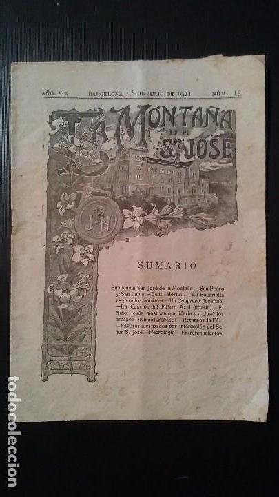 REVISTA SEMANAL ILUSTRADA - LA MONTAÑA DE SAN JOSE - Nº13 - BARCELONA JULIO DE 1921 (Coleccionismo - Revistas y Periódicos Antiguos (hasta 1.939))
