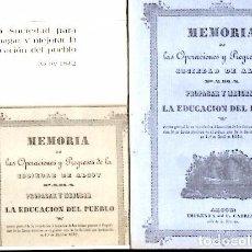 Coleccionismo de Revistas y Periódicos: ALCOY - MEMORIA DE LAS OPERACIONES Y PROGRESOS DE SOCIEDAD DE ALCOY - FACSIMIL AÑO 2000. Lote 105103931
