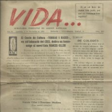 Coleccionismo de Revistas y Periódicos: VIDA...SEMANARIO PORTAVOZ DE ACCION CATOLICA. IGUALADA, 8 NOVIEMBRE 1956. Lote 105109703