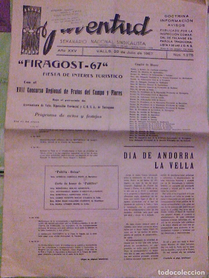 JUVENTUD SEMANARIO NACIONAL SINDICALISTA VALLS TARRAGONA DIA DE ANDORRA LA VELLA 1967 (Coleccionismo - Revistas y Periódicos Modernos (a partir de 1.940) - Otros)