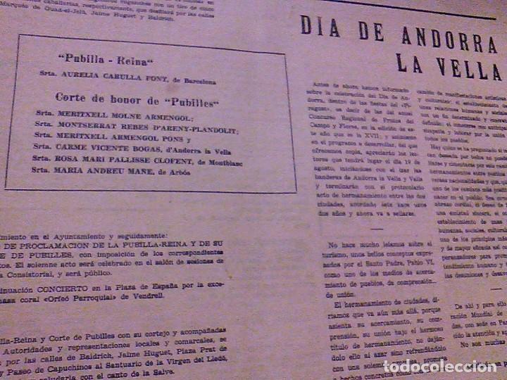 Coleccionismo de Revistas y Periódicos: JUVENTUD SEMANARIO NACIONAL SINDICALISTA VALLS TARRAGONA DIA DE ANDORRA LA VELLA 1967 - Foto 2 - 106584271