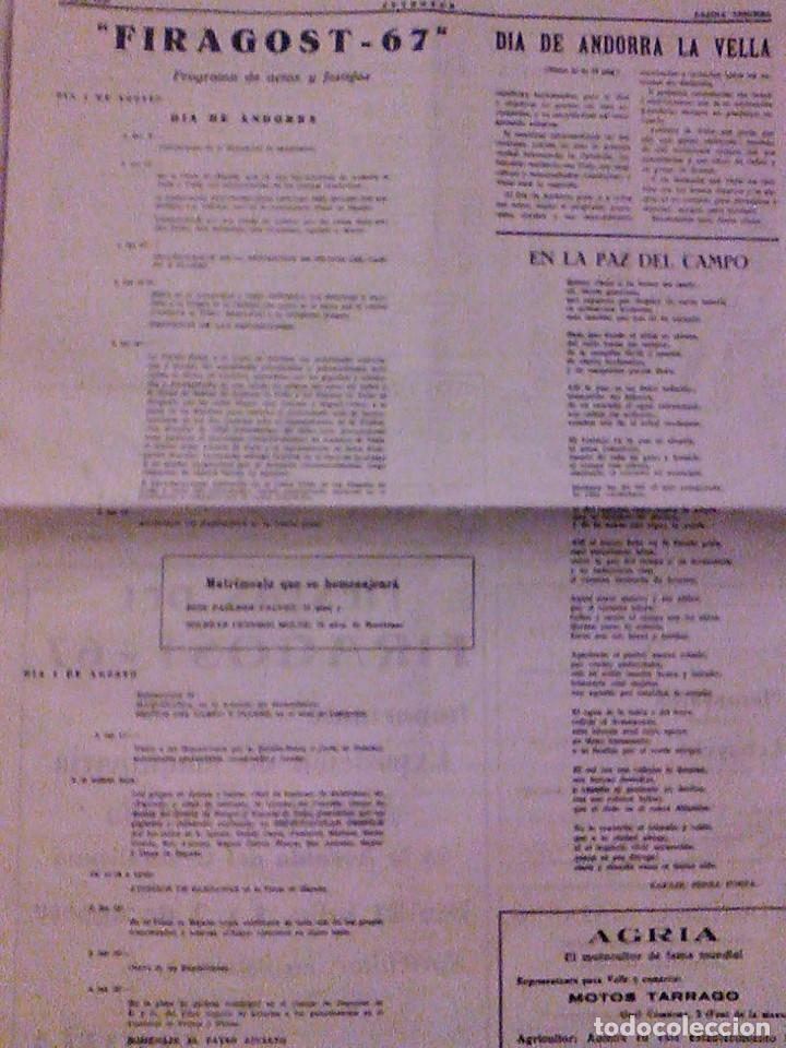 Coleccionismo de Revistas y Periódicos: JUVENTUD SEMANARIO NACIONAL SINDICALISTA VALLS TARRAGONA DIA DE ANDORRA LA VELLA 1967 - Foto 4 - 106584271