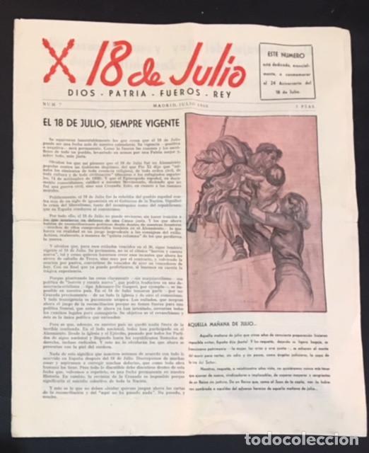 BOLETIN PERIODICO CARLISTA 18 DE JULIO - 1960 DIOS PATRIA FUEROS REY NUMERO Nº 7 (Coleccionismo - Revistas y Periódicos Modernos (a partir de 1.940) - Otros)