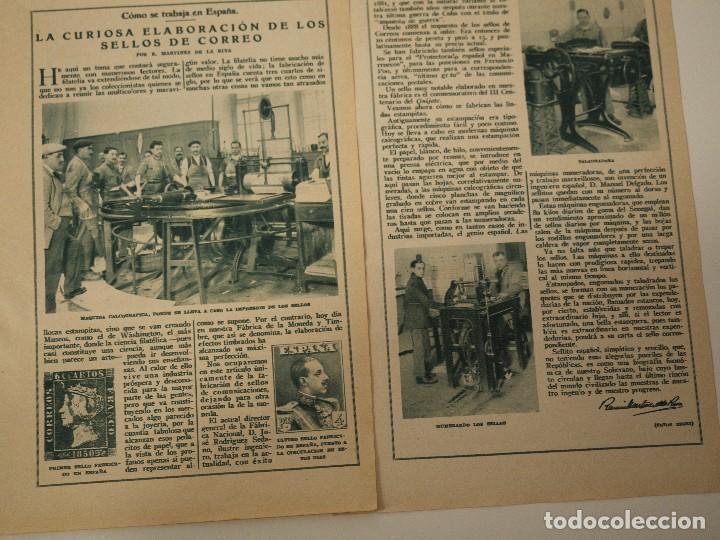 REPORTAJE REVISTA ORIGINAL ANTIGUO. CURIOSA ELABORACION DE LOS SELLOS DE CORREO (Coleccionismo - Revistas y Periódicos Antiguos (hasta 1.939))