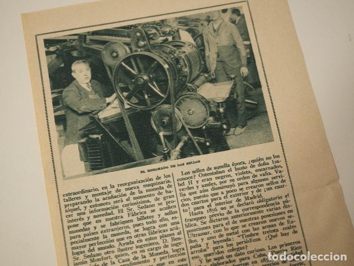 Coleccionismo de Revistas y Periódicos: REPORTAJE REVISTA ORIGINAL ANTIGUO. CURIOSA ELABORACION DE LOS SELLOS DE CORREO - Foto 2 - 107032115