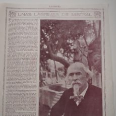 Coleccionismo de Revistas y Periódicos: HOJA REVISTA ORIGINAL 1914-1915. UNAS LAGRIMAS DE MISTRAL, FEDERICO MISTRAL. Lote 107343163