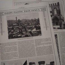 Coleccionismo de Revistas y Periódicos: REPORTAJE REVISTA ORIGINAL 1914-1915.CIUDADES ITALIANAS: BOLONIA. Lote 107344567