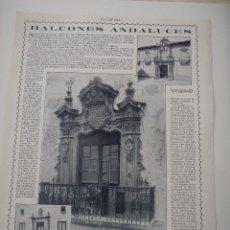 Coleccionismo de Revistas y Periódicos: HOJA REVISTA ORIGINAL 1914-1915. BALCONES ANDALUCES. Lote 107349307
