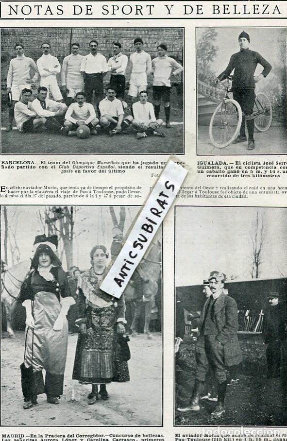 REVISTA 1910 OLIMPIQUE MARSELLAIS FUTBOL RCD CLUB DEPORTIVO ESPAÑOL CICLISTA JOSE SERRA DE IGUALADA (Coleccionismo - Revistas y Periódicos Antiguos (hasta 1.939))
