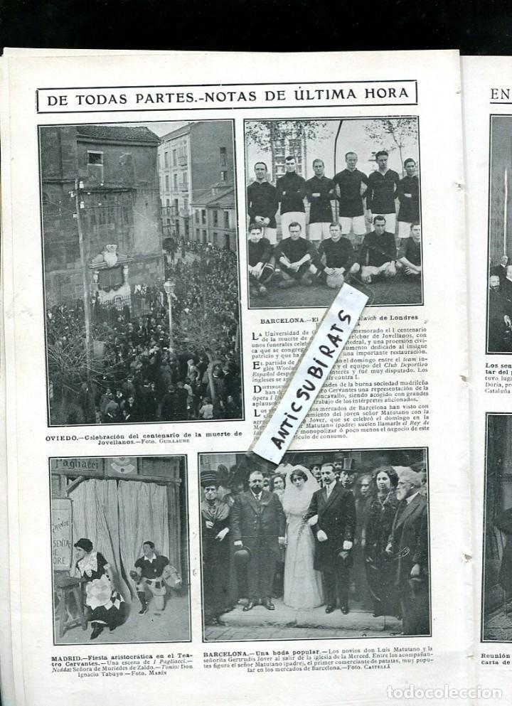 REVISTA 1911 FUTBOL DEPORTIVO ESPAÑOL RCD WOOLWICH JOVELLANOS OVIEDO LUIS MATUTANO PATATAS MANCOMUNI (Coleccionismo - Revistas y Periódicos Antiguos (hasta 1.939))