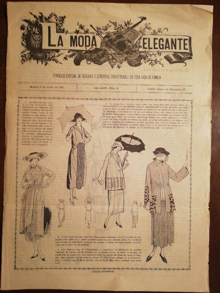 UNICA EN T.C... REVISTA LA MODA ELEGANTE - 6 JUNIO DE1921 (Coleccionismo - Revistas y Periódicos Antiguos (hasta 1.939))