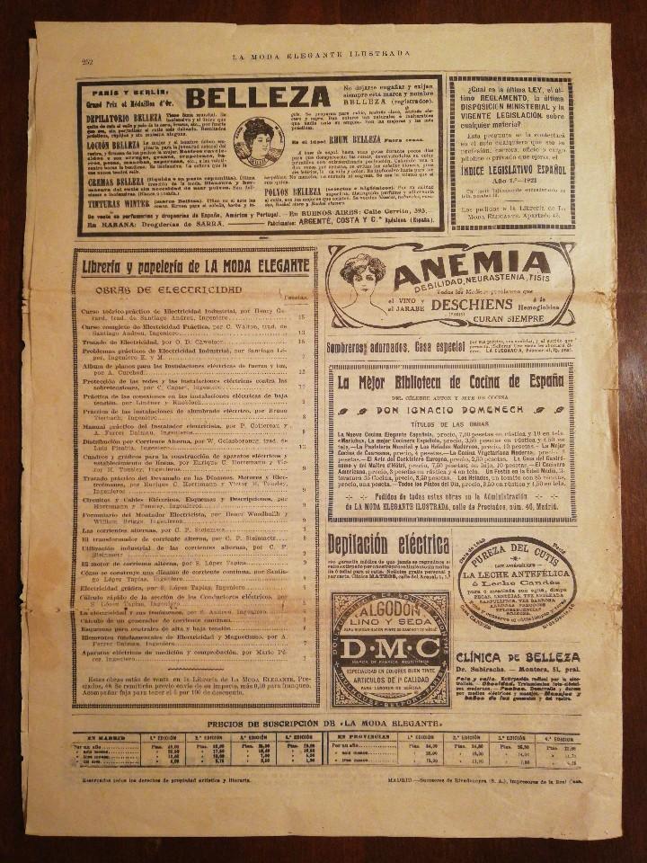 Coleccionismo de Revistas y Periódicos: UNICA EN T.C... REVISTA LA MODA ELEGANTE - 6 JUNIO DE1921 - Foto 2 - 109131687