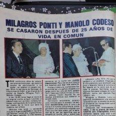 Coleccionismo de Revistas y Periódicos: MILAGROS PONTI MANOLO CODESO . Lote 109501675