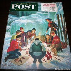 Coleccionismo de Revistas y Periódicos: REVISTA - THE SATURDAY EVENING POST - 23/FEBRERO/1952 - ILUSTRADOR PORTADA: JOHN CLYMER. Lote 110003067