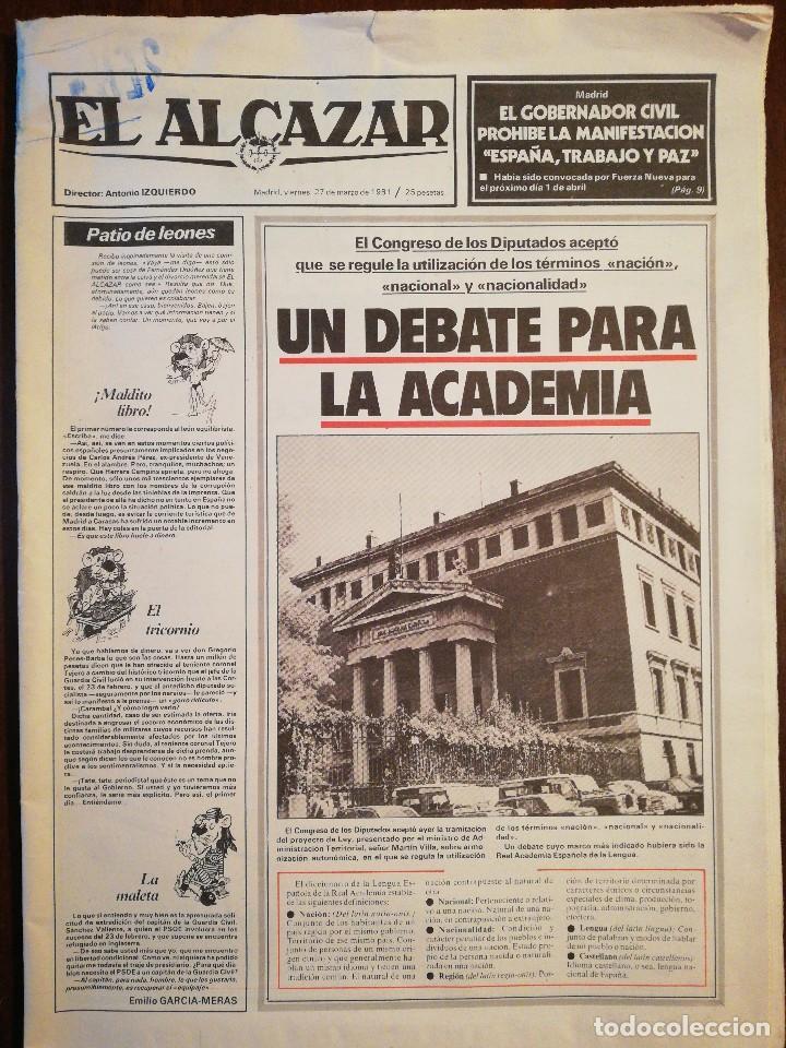 Coleccionismo de Revistas y Periódicos: Lote de ocho (8) periódicos EL ALCÁZAR - Año 1981 - Foto 12 - 110012295