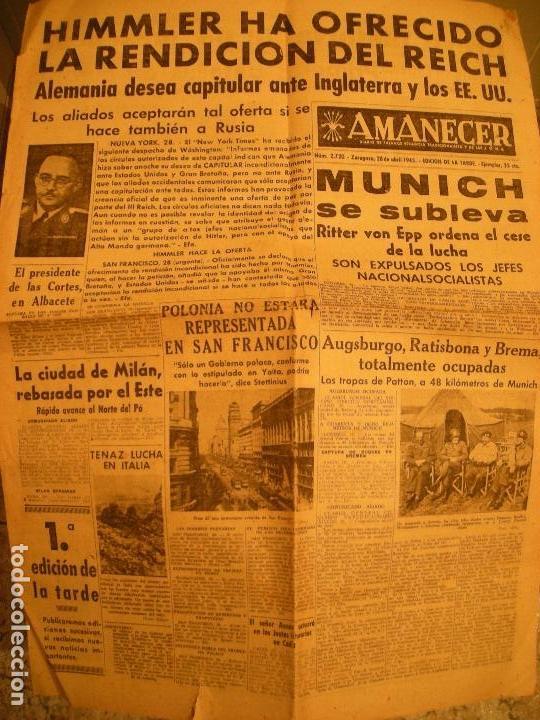 AMANECER DIARIO DE FALANGE ESPAÑOLA SEGUNDA GUERRA MUNDIAL (Coleccionismo - Revistas y Periódicos Modernos (a partir de 1.940) - Otros)