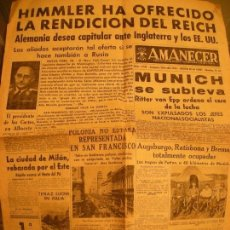Coleccionismo de Revistas y Periódicos: AMANECER DIARIO DE FALANGE ESPAÑOLA SEGUNDA GUERRA MUNDIAL. Lote 110048679