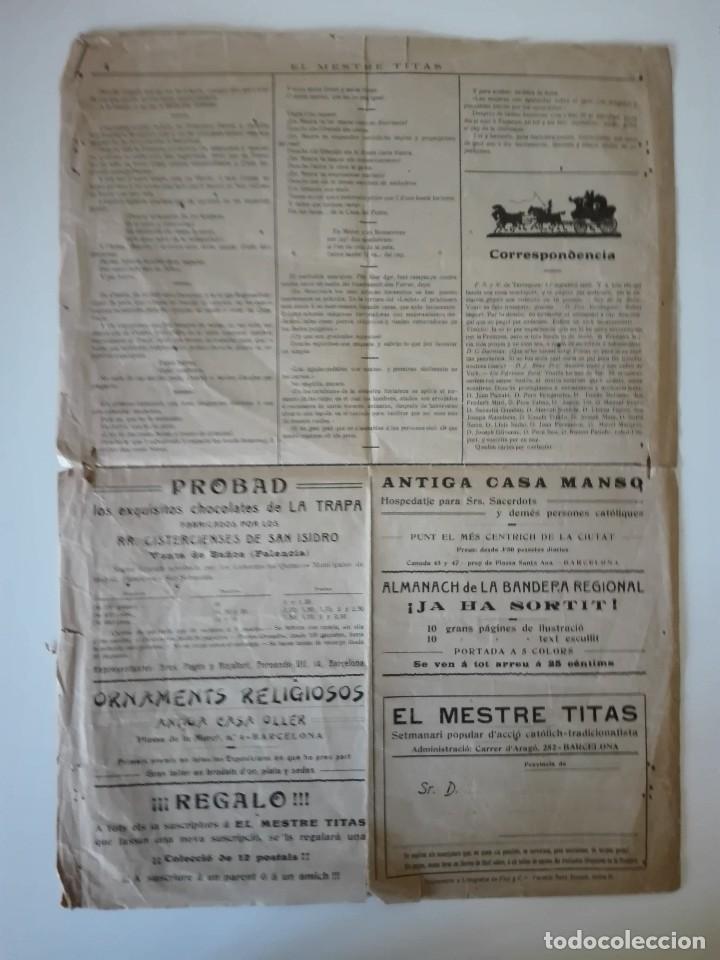 Coleccionismo de Revistas y Periódicos: El Mestre Titas. Barcelona 4 de Janer de 1910. Any 1, Num. 1 . Tercera época. Barcelona , Manresa - Foto 4 - 110366931