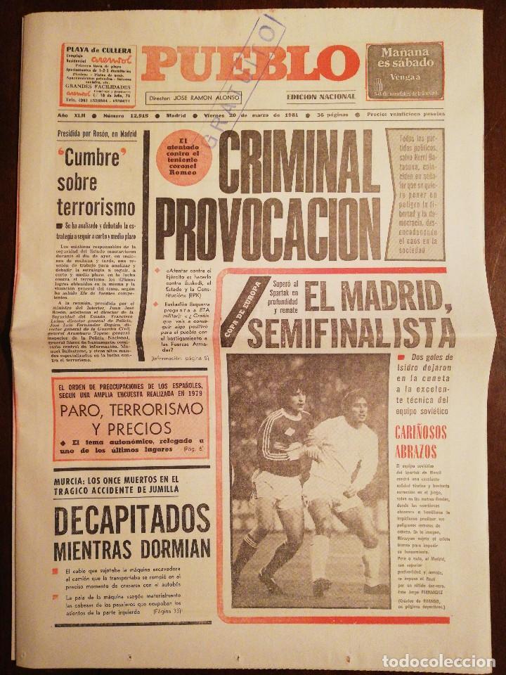 PERIÓDICO PUEBLO - EL ATENTADO CONTRA EL TENIENTE CORONEL ROMEO - MARZO DE 1981 (Coleccionismo - Revistas y Periódicos Modernos (a partir de 1.940) - Otros)