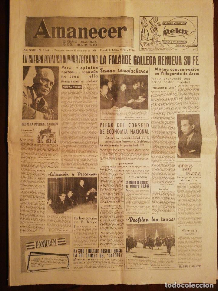 PERIÓDICO AMANECER DIARIO ARAGONÉS DEL MOVIMIENTO - FALANGE ESPAÑOLA - MARZO 1959 (Coleccionismo - Revistas y Periódicos Modernos (a partir de 1.940) - Otros)