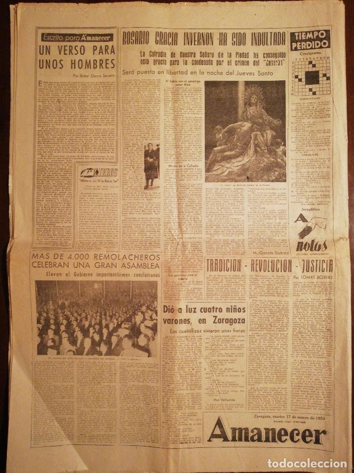 Coleccionismo de Revistas y Periódicos: Periódico AMANECER Diario Aragonés del Movimiento - Falange Española - Marzo 1959 - Foto 2 - 110569615