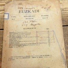 Coleccionismo de Revistas y Periódicos: EUZKADI. REVISTA BIMESTRAL DE CIENCIAS, BELLAS ARTES Y LETRAS. 3ª ÉPOCA. Nº 20, MARZO-ABRIL 1913. Lote 111269175