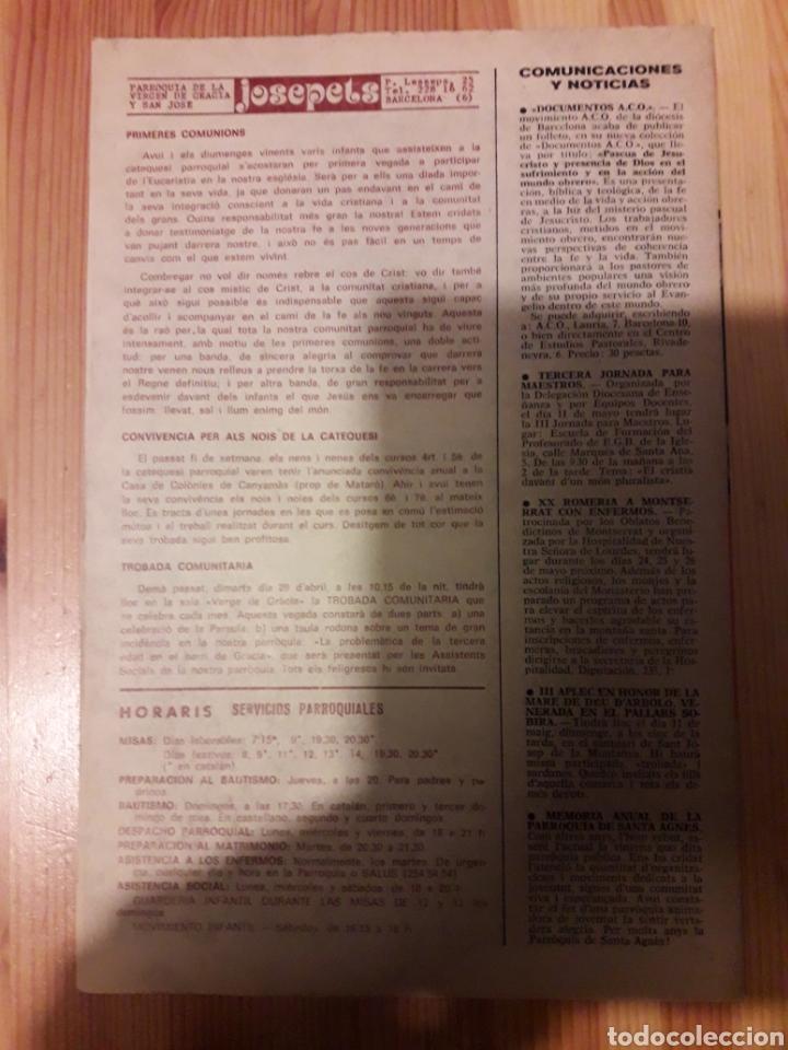 Coleccionismo de Revistas y Periódicos: Hoja dominical parroquia josepets gracia 1985 catalan y castellano lesseps religion - Foto 2 - 111386315