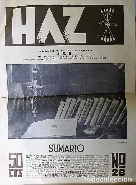 REVISTA : HAZ SEMANARIO DE LA JUVENTUD, S.E.U. 1941,3º ÉPOCA (Coleccionismo - Revistas y Periódicos Modernos (a partir de 1.940) - Otros)