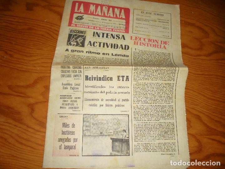 LA MAÑANA, AL SERVEI DE LA TERRA FERMA, 20 DE MAYO 1977. REIVINDICA ETA ; TEMPORAL EN GERONA (Coleccionismo - Revistas y Periódicos Modernos (a partir de 1.940) - Otros)