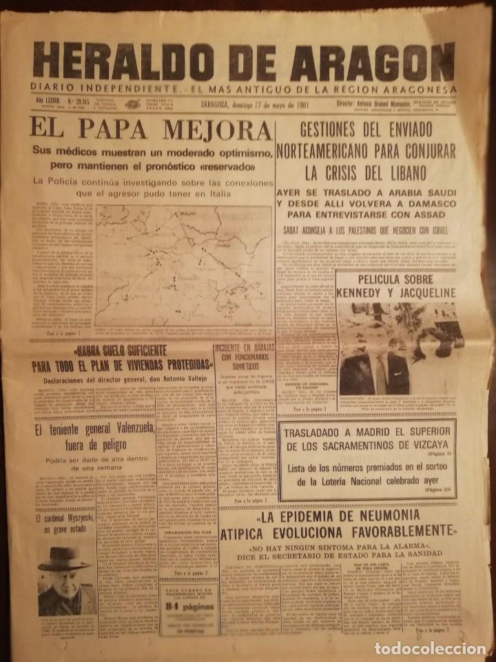 PERIÓDICO HERALDO DE ARAGON, ZARAGOZA 17 DE MAYO DE 1981 - EPIDEMIA DE NEUMONIA ATIPICA (Coleccionismo - Revistas y Periódicos Modernos (a partir de 1.940) - Otros)