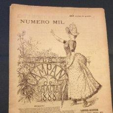 Coleccionismo de Revistas y Periódicos: LA CAMPANA DE GRACIA. NÚMERO MIL. 21 JULIOL 1888. 39X28 CM. [18] P.. Lote 112055747