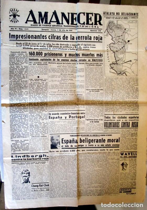Coleccionismo de Revistas y Periódicos: AMANECER - ZARAGOZA - 3 / 7 / 1941 - CRONICA DE LA BATALLA DE STALINGRADO - Foto 2 - 112211235