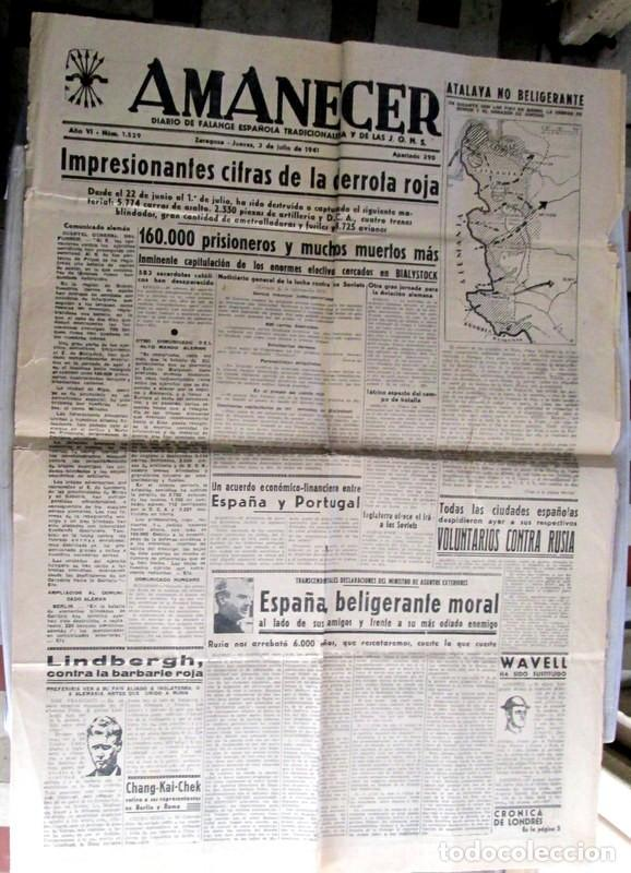 Coleccionismo de Revistas y Periódicos: AMANECER - ZARAGOZA - 3 / 7 / 1941 - CRONICA DE LA BATALLA DE STALINGRADO - Foto 3 - 112211235