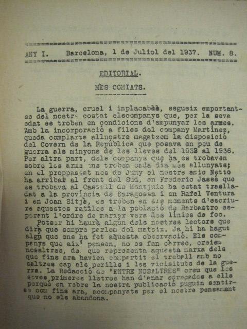 Coleccionismo de Revistas y Periódicos: GUERRA CIVIL-REVISTA - ENTRE NOSALTRES -1937-EL CANT DE LA SENYERA - VEURE FOTOS -(V-13.440) - Foto 5 - 112445519