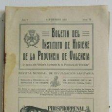 Collezionismo di Riviste e Giornali: BOLETÍN DEL INSTITUTO DE HIGIENE DE LA PROVINCIA DE VALENCIA. Nº 52 1931. BELLÚS HERVIDEROS COFRENTE. Lote 112497143
