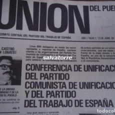 Coleccionismo de Revistas y Periódicos: PARTIDO DEL TRABAJO DE ESPAÑA.ORT.LA UNION DEL PUEBLO.DOS TOMOS.EXCEPCIONAL LOTE.. Lote 112537919