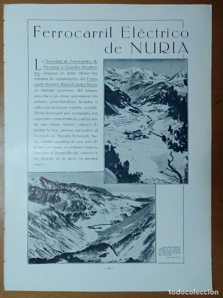 FERROCARRIL ELECTRICO DE NURIA FOTOS ZERKOWITZ CONSTRUCCIONES GASPAR 1928 (Coleccionismo - Revistas y Periódicos Antiguos (hasta 1.939))