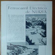 Coleccionismo de Revistas y Periódicos: FERROCARRIL ELECTRICO DE NURIA FOTOS ZERKOWITZ CONSTRUCCIONES GASPAR 1928. Lote 113165683