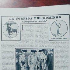 Coleccionismo de Revistas y Periódicos: EMILIO TORRES -BOMBITA-CORRIDA DE DESPEDIDA MADRID 2 HOJAS REVISTA AÑO 1904. Lote 113298091