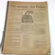 Coleccionismo de Revistas y Periódicos: UN ENEMIC DEL POBLE, SALVAT PAPASEIT. NUM 1 AL 18. FACSÍMIL 25,5X35,5 CM. LETRADURA 1976. Lote 113507823