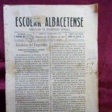 Coleccionismo de Revistas y Periódicos: ESCOLAR ALBACETENSE.SEMANARIO DE INSTRUCCIÓN PÚBLICA - ALBACETE 24/2/1917 ÉPOCA ALFONSO XIII - RARO. Lote 113600971
