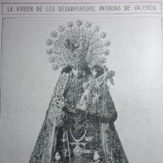 Coleccionismo de Revistas y Periódicos: AÑOS 20. LA VIRGEN DE LOS DESAMPARADOS. PATRONA DE VALENCIA. Lote 113669767
