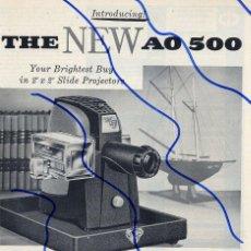 Coleccionismo de Revistas y Periódicos: AO 500 1955 PROYECTOR DIAPOSITIVAS HOJA REVISTA. Lote 114193203