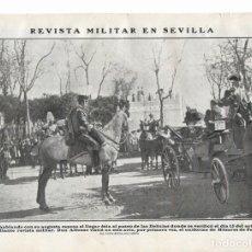 Collezionismo di Riviste e Giornali: 1908 HOJA SEVILLA PASEO DELICIAS ALFONSO XIII REINA VICTORIA REVISTA MILITAR UNIFORME HÚSARES PAVÍA. Lote 114478559