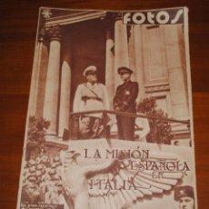 Coleccionismo de Revistas y Periódicos: REVISTA FOTOS, 17 DE JUNIO DE 1939, LA MISIÓN ESPAÑOLA EN ITALIA. Lote 114742911