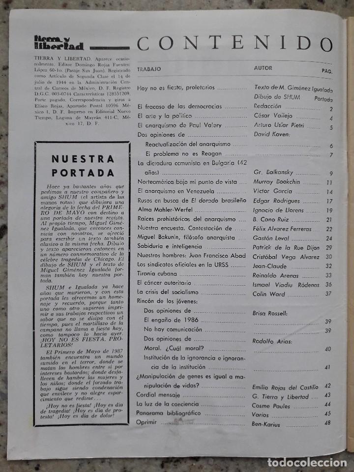 Coleccionismo de Revistas y Periódicos: REVISTA ANARQUISTA TIERRA Y LIBERTAD MEXICO Nº 459 ESTRA 1 DE MAYO 1987 - Foto 2 - 115516083